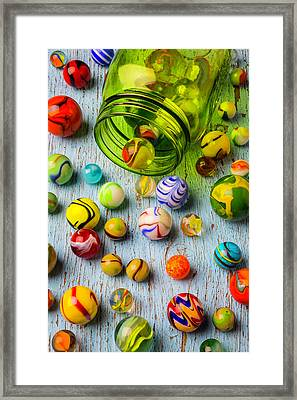 Green Jar And Marbles Framed Print by Garry Gay