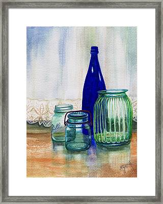 Framed Print featuring the painting Green Jars Still Life by Marilyn Smith