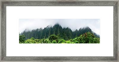 Green Ko'olaus Framed Print by Sean Davey