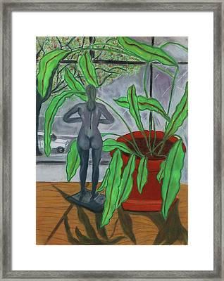 Green Lady Framed Print by Eliezer Sobel