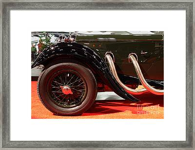 Green Lagonda Classic Car Front Side View Framed Print by Wingsdomain Art and Photography