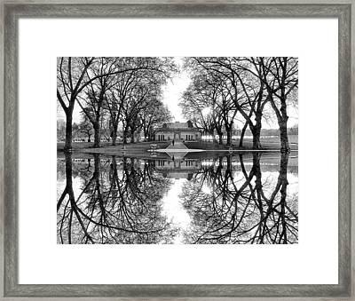 Green Lake Bathhouse Black And White Reflection Framed Print