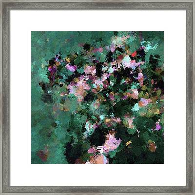 Green Landscape Painting In Minimalist And Abstract Style Framed Print