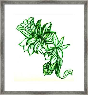 Green Leaves Framed Print by Judith Herbert