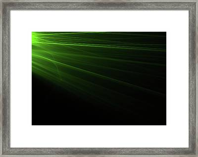 Green Light Rays Coming From The Left Framed Print