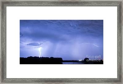 Green Lightning Bolt Ball And Blue Lightning Sky Framed Print