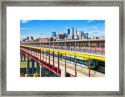 Green Line Light Rail In Minneapolis Framed Print by Jim Hughes