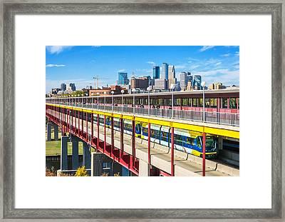 Green Line Light Rail In Minneapolis Framed Print