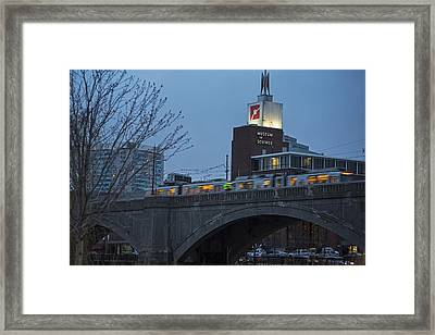 Green Line Train Passing The Museum Of Science Boston Ma Framed Print by Toby McGuire
