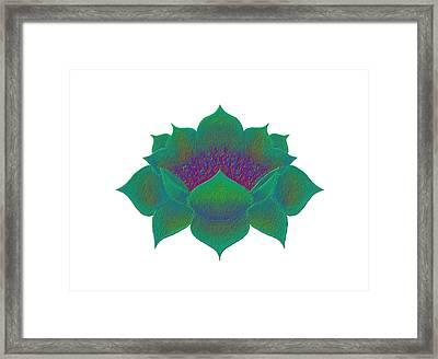 Framed Print featuring the digital art Green Lotus by Elizabeth Lock