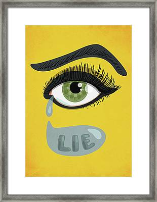Green Lying Eye With Tears Framed Print by Boriana Giormova