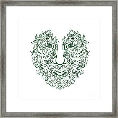 Green Man Head Front Mandala Framed Print
