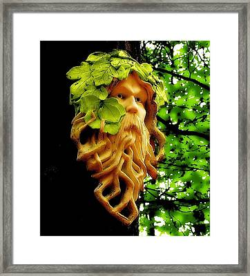 Green Man Framed Print by Jen White