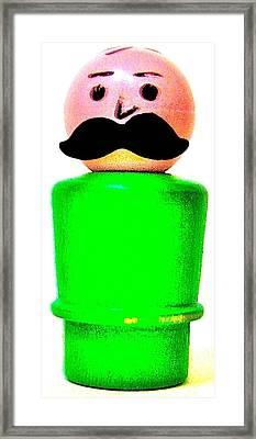 Green Man Mustache Framed Print