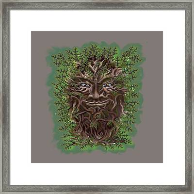 Framed Print featuring the painting Green Man Of The Forest by Thomas Lupari