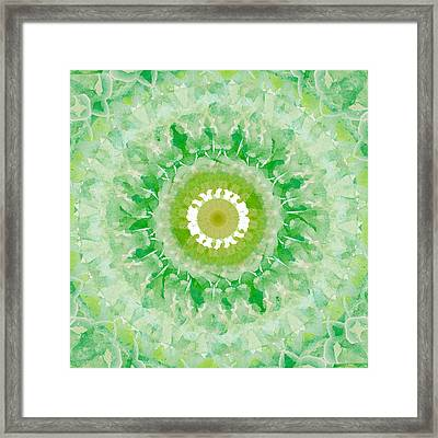 Green Mandala- Abstract Art By Linda Woods Framed Print