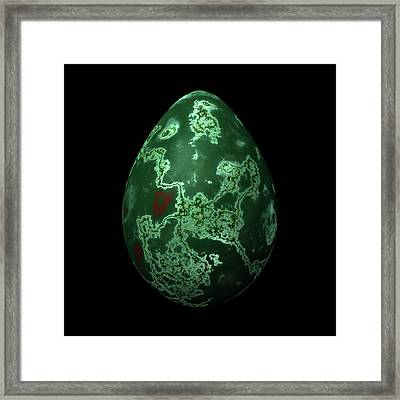 Green Marble Egg With Red Details Framed Print by Hakon Soreide