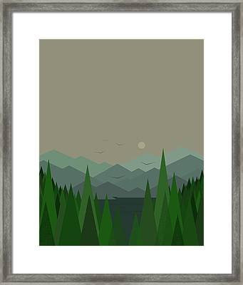 Framed Print featuring the digital art Green Mist - Verical by Val Arie