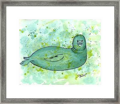 Framed Print featuring the painting Green Monk Seal by Darice Machel McGuire