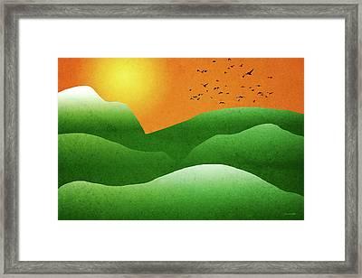 Green Mountain Sunrise Landscape Art Framed Print