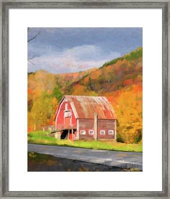 Green Mountains Barn Framed Print by Betty LaRue