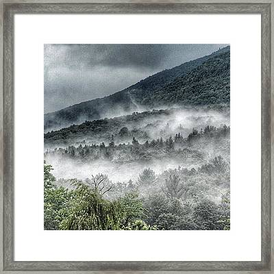 Green Mountains With Fog Framed Print