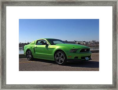 Green Mustang Framed Print