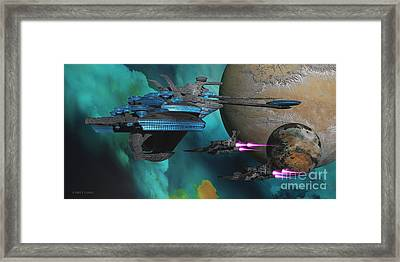 Green Nebular Expanse Framed Print by Corey Ford