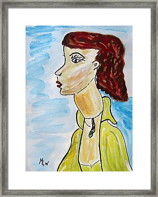 Framed Print featuring the painting Green Necklace Green Eyes by Mary Carol Williams