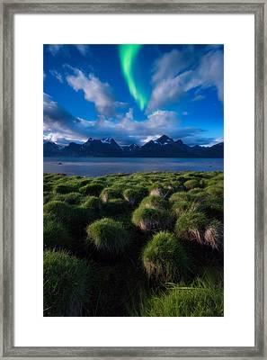 Green Night Framed Print by Tor-Ivar Naess