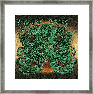 Green Octopus Framed Print