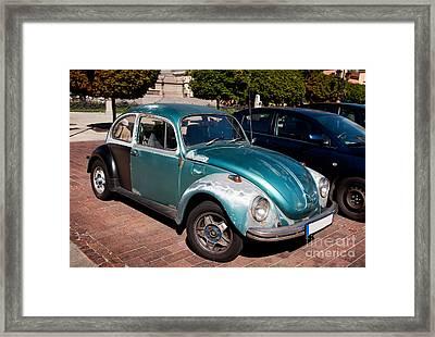 Green Old Vintage Volkswagen Car Framed Print
