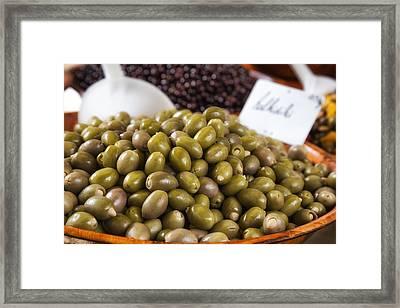 Green Olives At A French Market Framed Print