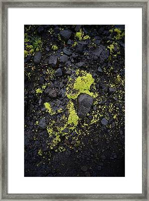 Green On Black On Iceland's Fimmvorduhals Trail Framed Print