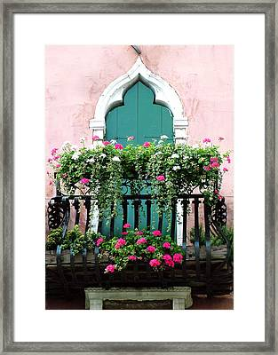 Framed Print featuring the photograph Green Ornate Door With Geraniums by Donna Corless