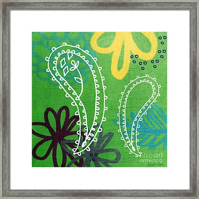 Green Paisley Garden Framed Print by Linda Woods
