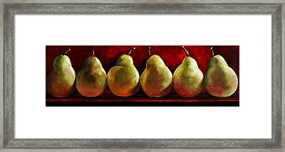 Green Pears On Red Framed Print by Toni Grote