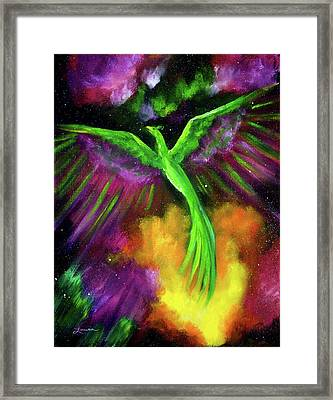 Green Phoenix In Bright Cosmos Framed Print by Laura Iverson