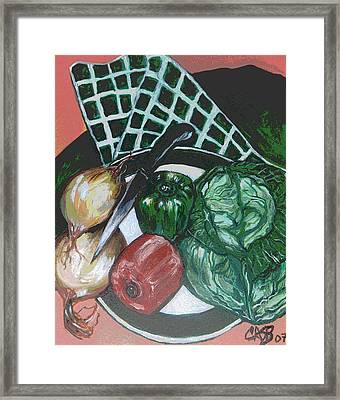 Green Plate Of Cabbage Soup Framed Print by Clara Spencer