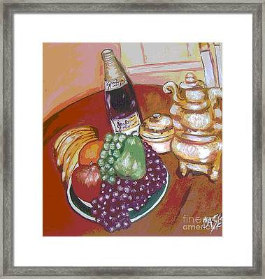 Green Plate Of Fruit Framed Print by Clara Spencer
