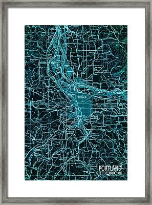 Green Portland Vintage Map Framed Print