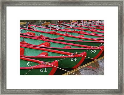 Green Red Boats In The Row Framed Print by Elena Chepel