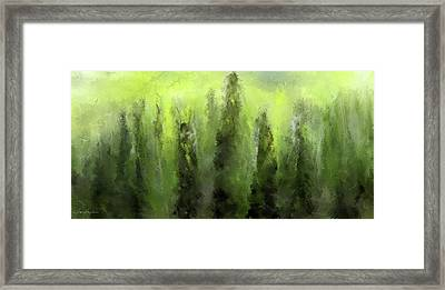 Green Revive- Pantone 2017 Color Of The Year Framed Print by Lourry Legarde