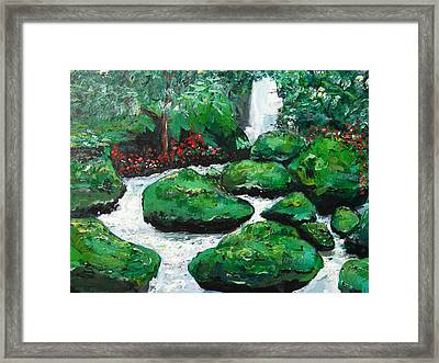 Framed Print featuring the painting Green Rock Creek by Dan Whittemore