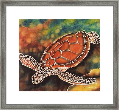 Green Sea Turtle Framed Print by Jacqueline Phillips-Weatherly