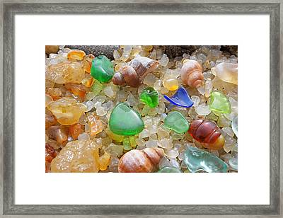 Green Seaglass Art Prints Sea Glass Shells Agates Framed Print