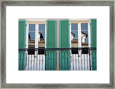 Framed Print featuring the photograph Green Shutters Reflections by KG Thienemann