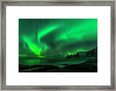 Green Skies At Night Framed Print