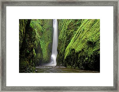 Framed Print featuring the photograph Green Slot Canyon by Jonathan Davison
