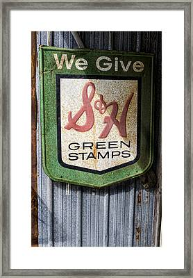 Green Stamp Sign Framed Print by Peter Chilelli